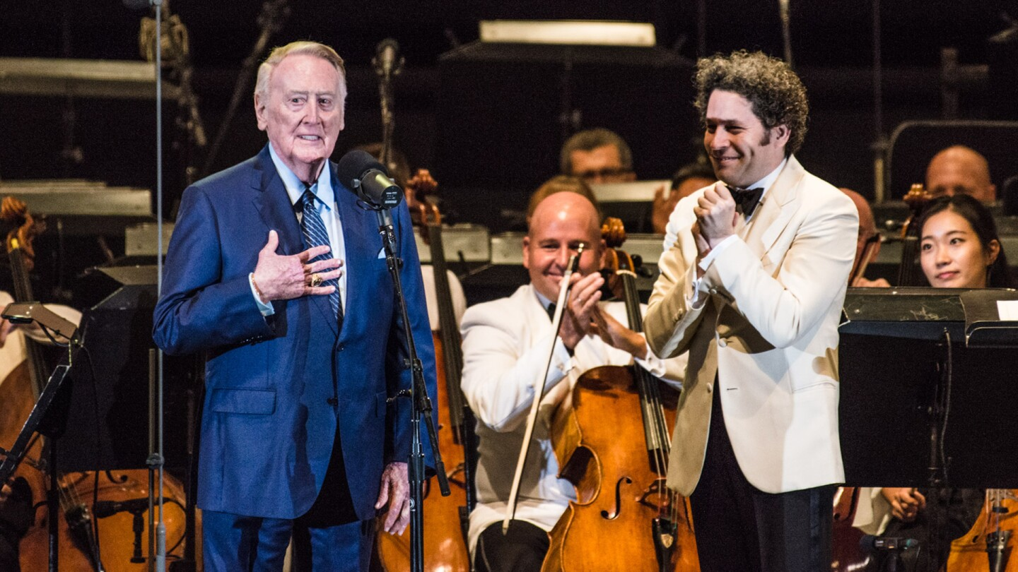 "Vin Scully and Gustavo Dudamel at the Hollywood Bowl performing ""Lincoln's Portrait""- July 13, 2017 
