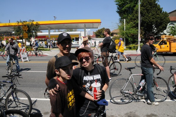 Michael Lopez and his two children | Photo by Zach Behrens/KCET