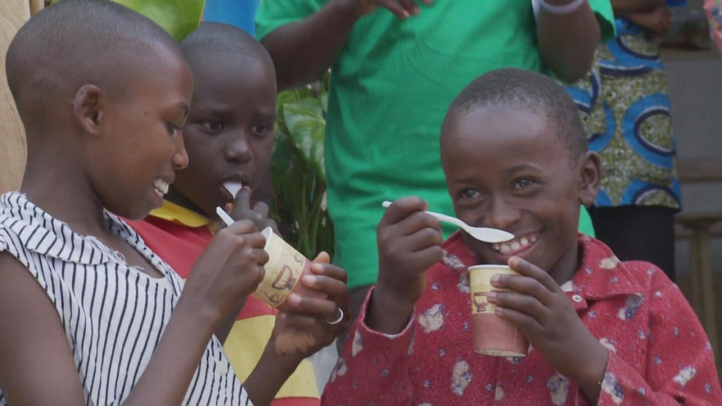 Children eating ice cream.   Still from Sweet Dreams