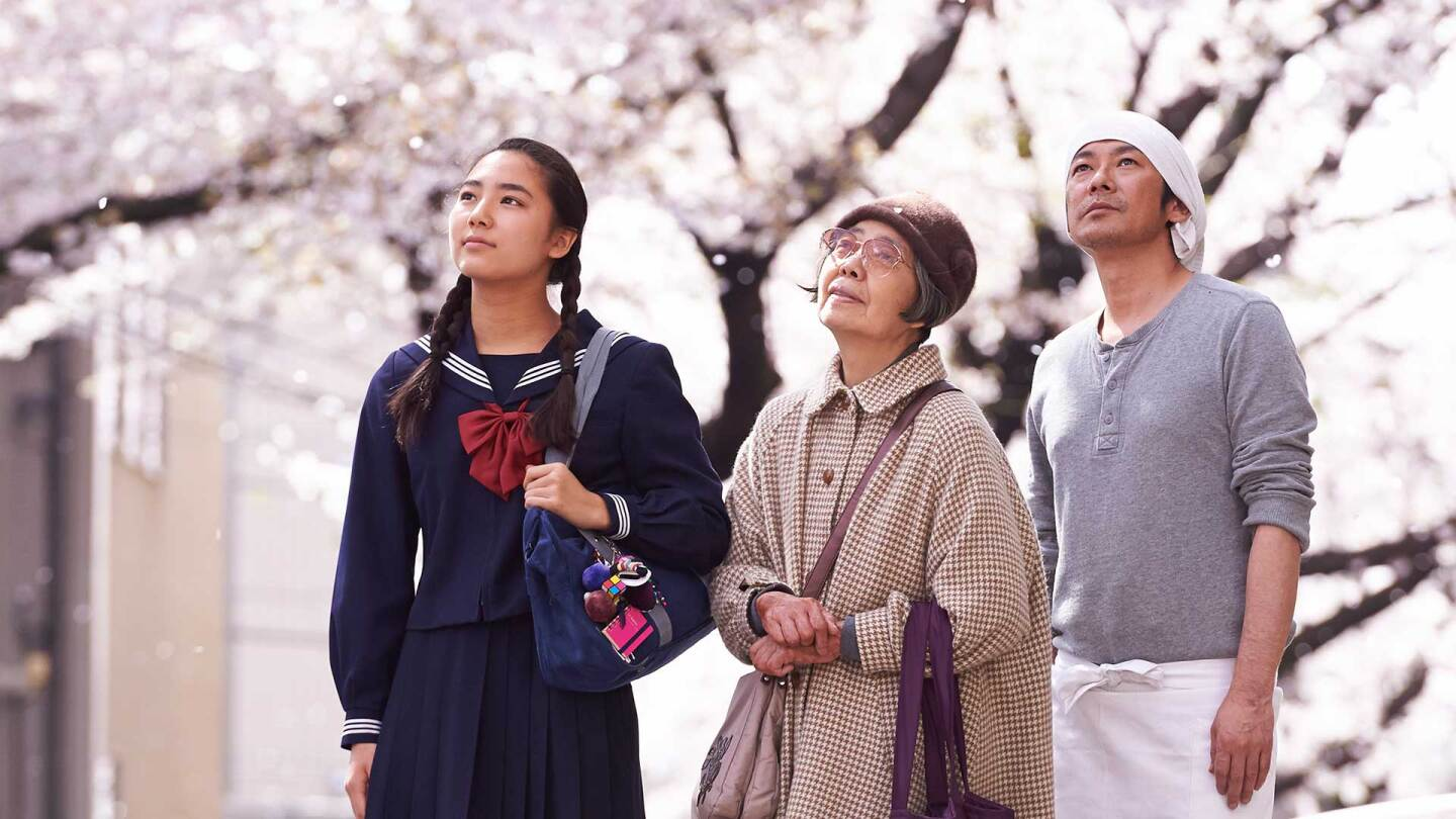"Wakana, Tokue and Sentarô looking upward as they admire something. | Still from ""Sweet Bean"""
