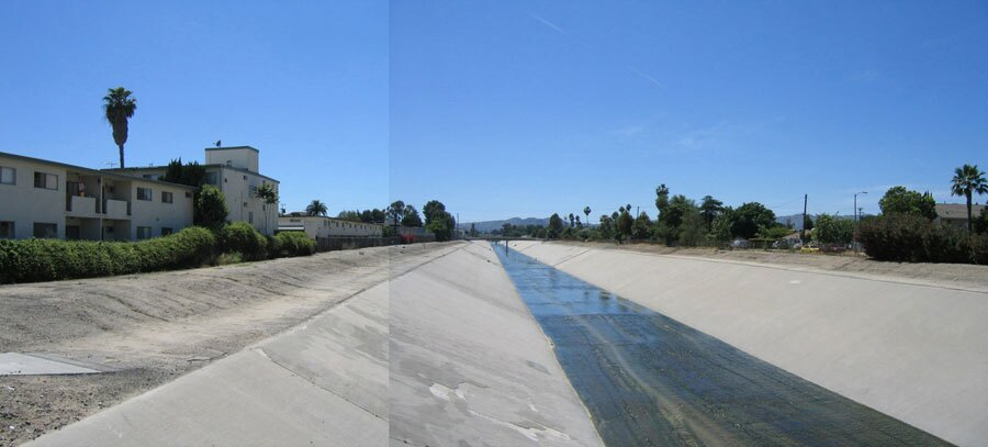 "LA River, ""greening"" of sections through Canoga Park - Before"