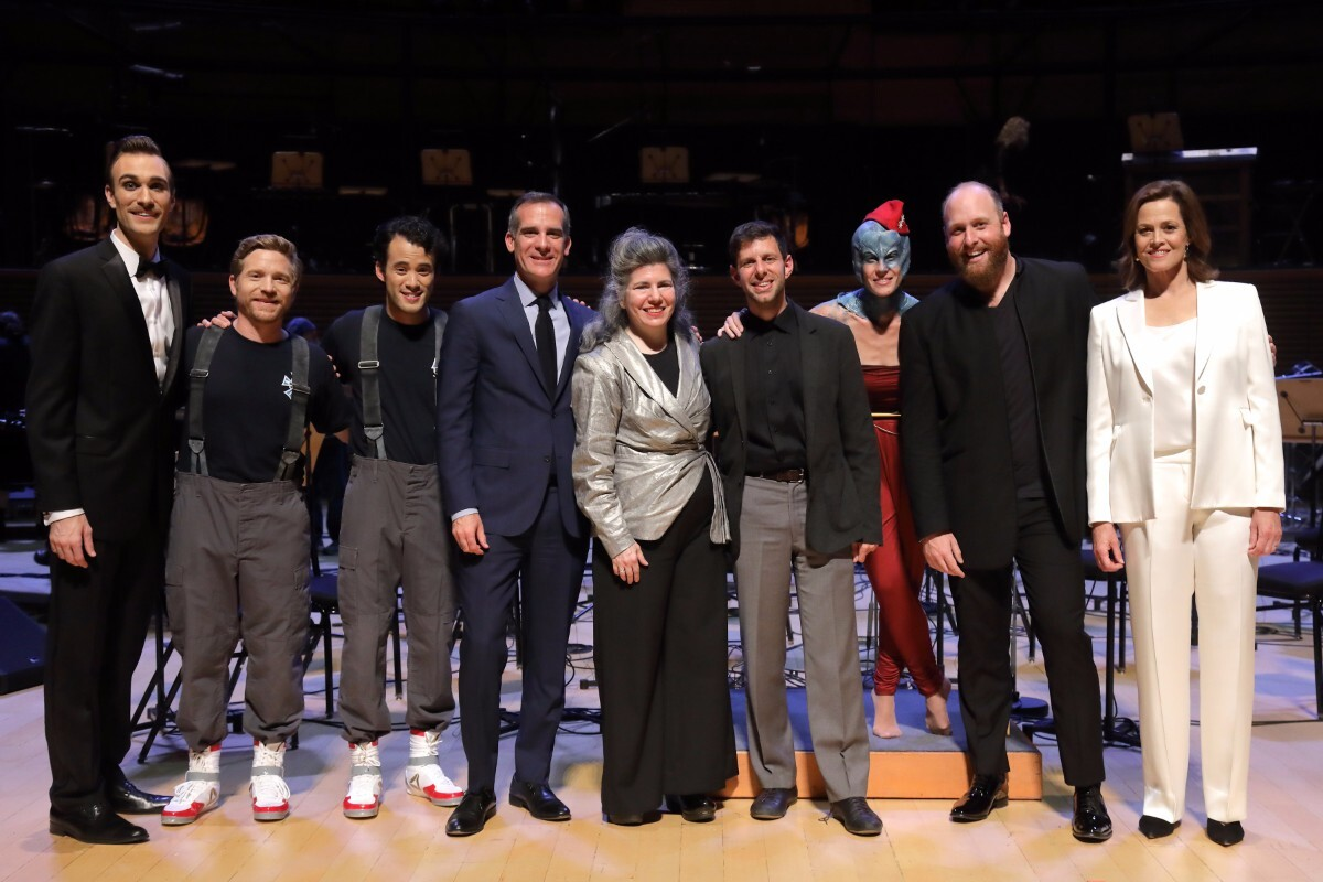 """The team from """"War of the Worlds"""" including Yuval Sharon, Annie Gosfield, Christopher Rountree, Sigourney Weaver, Mayor Eric Garcetti and Hila Plitmann.   Craig T. Mathew of Mathew Imaging"""