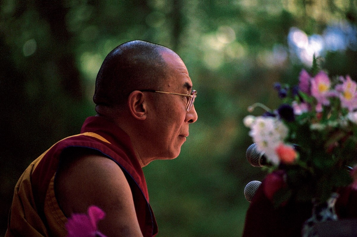 His Holiness the Dalai Lama at the Vajrapani Institute in the Santa Cruz Mountains, 1989 | Don Farber