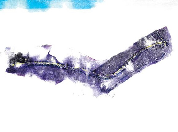 """Lung Removal Scar"" by Ted Meyer, 1998, gouache on vellum, 12 x 22 inches 