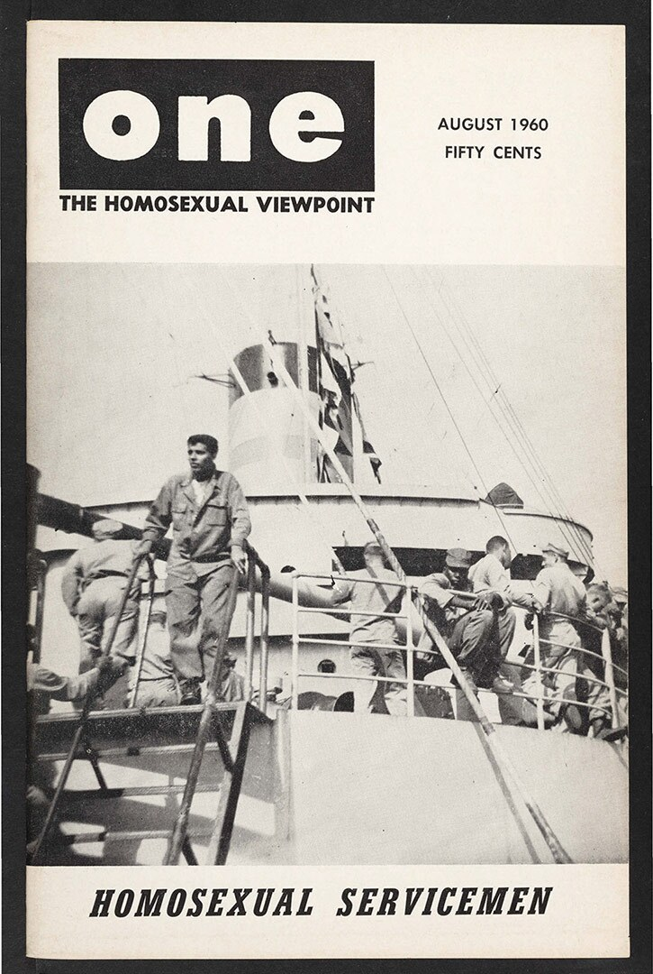 ONE magazine, volume 8, number 8 (1960 August). | Dawn Frederic, staff artist, ONE National Gay and Lesbian Archives, USC Libraries