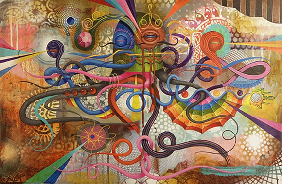 """GERMS, """"Pedometer,"""" acrylic on wood, 24"""" x 16,"""" 2012."""