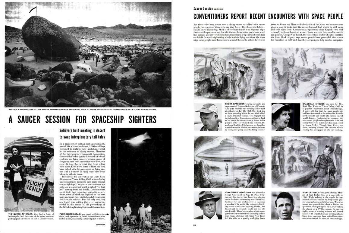 A May 27, 1957 LIFE Magazine feature on the Giant Rock Interplanetary Spaceship Convention. | Ralph Crane for LIFE Magazine, May 27, 1957