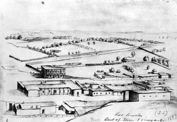 Another 1847 view of Los Angeles by Hutton. Courtesy of the Photo Collection, Los Angeles Public Library.