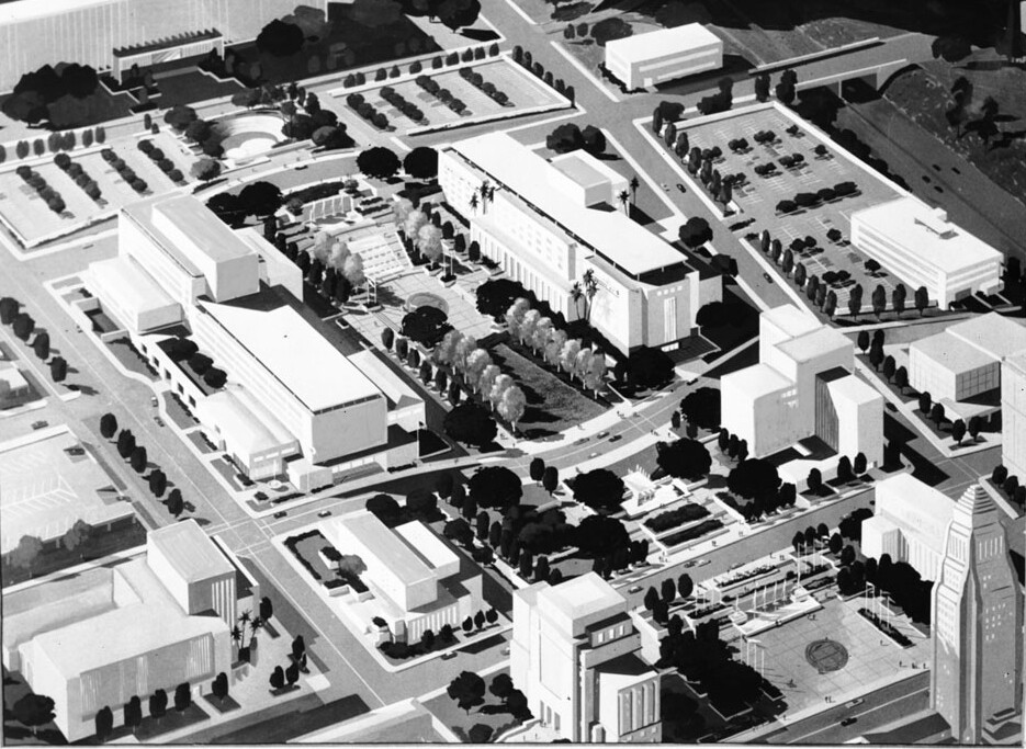 Aerial view of the proposed 1954 Los Angeles Civic Center