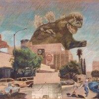 "Ron Reeder and Joseph Janusz, ""Godzilla Visiting El Monte."" | Courtesy of South El Monte Arts Posse and Ron Reeder ("