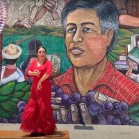"Briseyda Zárate performs a flamencoofrendato civilrightsleaderCesarChavez.   Screenshot from ""FLAMENCO OFRENDA TO CIVIL RIGHTS LEADER CÉSAR CHAVEZ"""