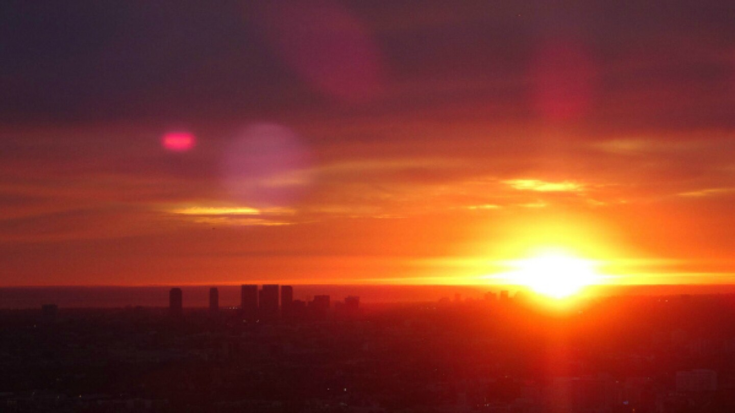 Wednesday evening's sunset from Griffith Observatory.   Photo: Zach Behrens/KCET