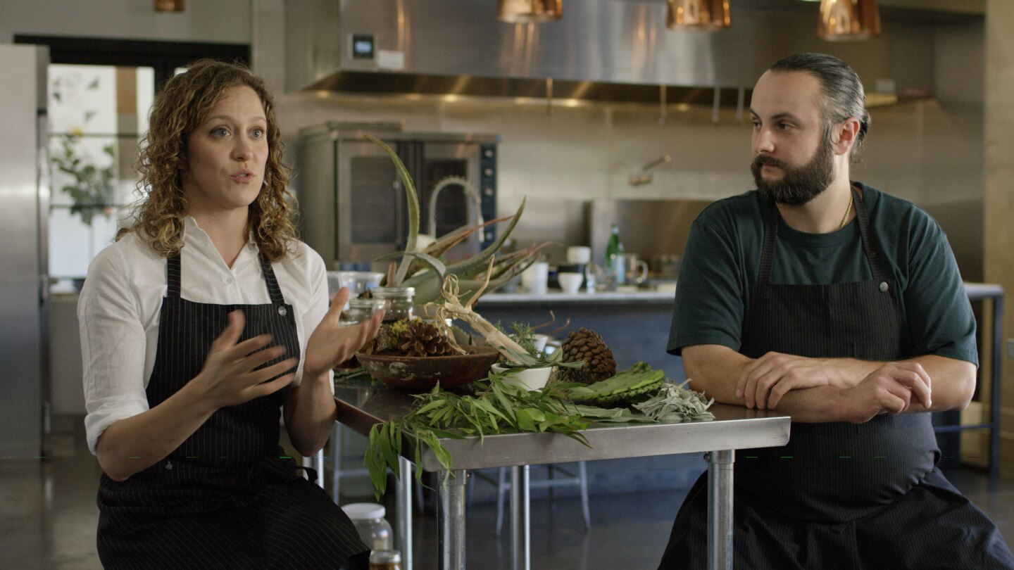 """Chefs Henry Fischer and Anna Rose Hopkins from Hank and Bean discuss future culinary landscapes looking forward to a world affected by climate change in the episode """"Future."""""""