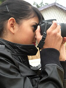 Youth Voices student producer snaps a picture