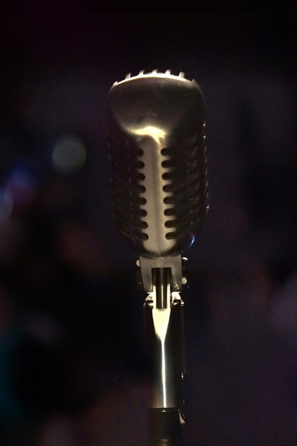 A microphone in front of a blurred background