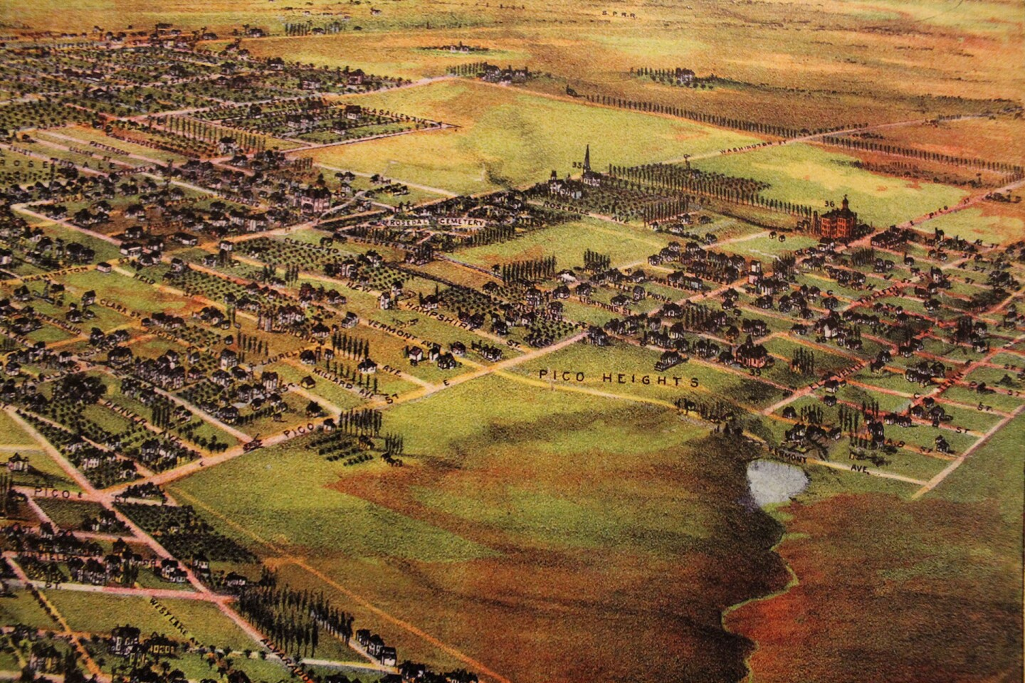 Pico Heights on an 1894 birdseye city view
