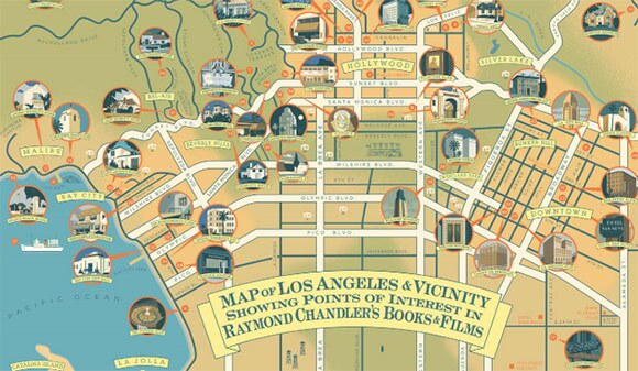 Detail from the Raymond Chandler Map of Los Angeles by Paul Rogers. | Click to Enlarge