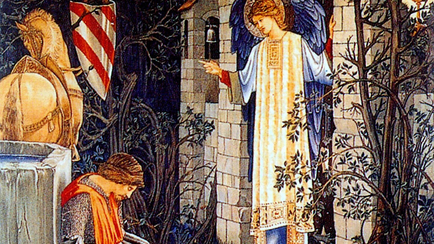 The Failure of Sir Launcelot to enter the Chapel of the Holy Grail, Number 3 of the Holy Grail tapestries woven by Morris & Co. 1891-94 for Stanmore Hall. Wool and silk on cotton warp, c. 1890 | Public Domain
