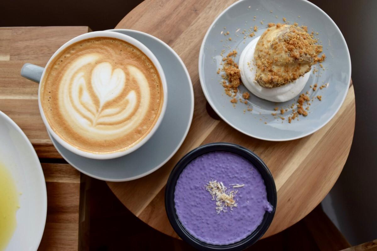 Ube chia seed pudding, off-menu ube pavlova, and bourbon vanilla latte   Danny Jensen