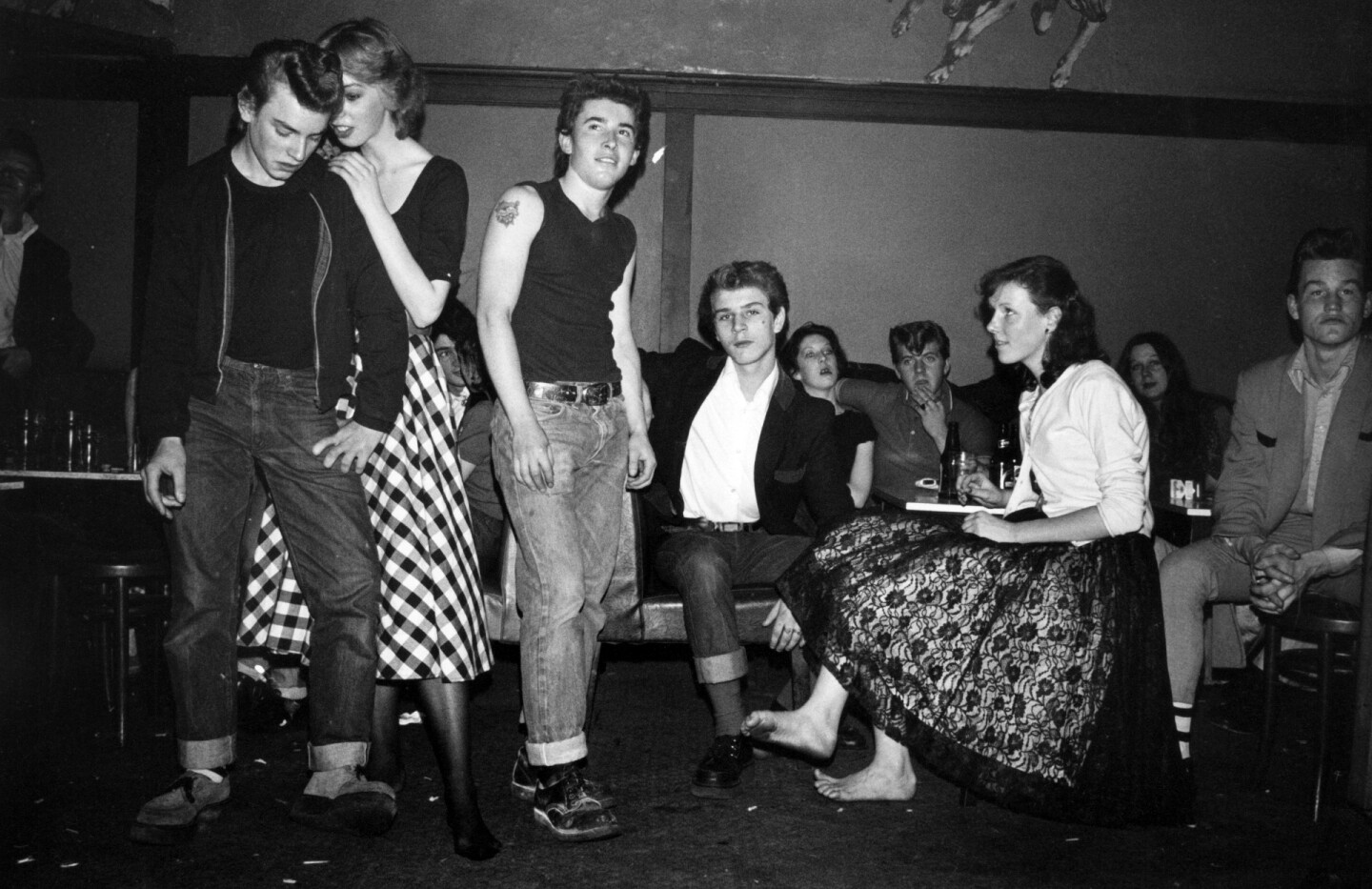Rockers Teddy Boys and girls at The George pub Hammersmith London November 1976