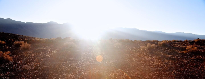 Osceola Refetoff, Sunset Behind Sierra Nevada, Fossil Falls, CA