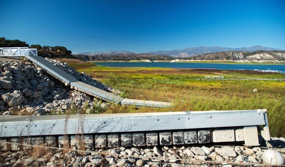 Boat launches jut out above the water at Cachuma Lake in northern Santa Barbara County. | Photo: Brittany App.