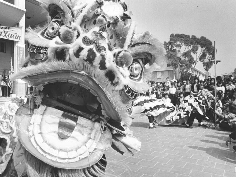 Black and white photo of the open mouth of a lion in during lion dance for the Tet New Year.