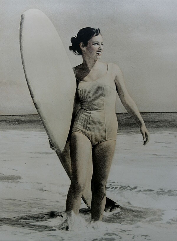 Kathy Kohner Zuckerman, aka Gidget, surfing in Malibu in the 1950s | Ken Hively/Los Angeles Times via Getty Images