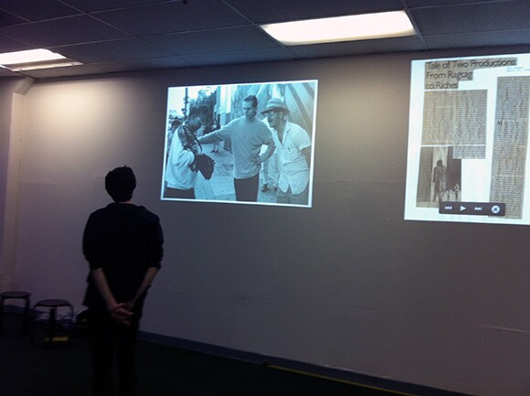 Rob Ochshorn looking at the archive   Courtesy Los Angeles Poverty Department