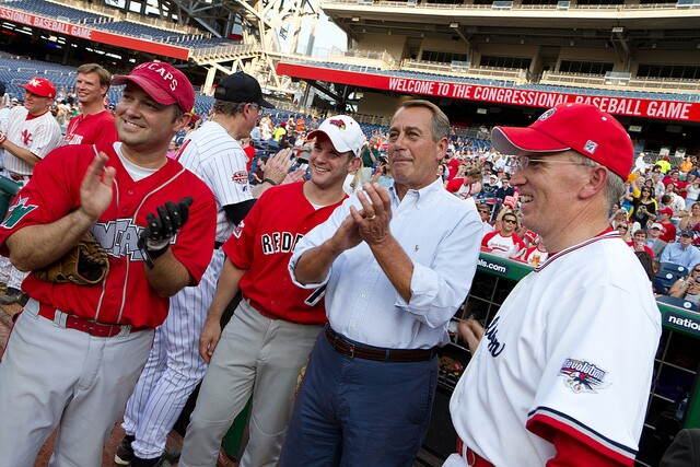 Speaker John Boehner and, from left, Reps. Marlin Stutzman (R-IN), Adam Kinzinger (R-IL), and Todd Platts (R-PA).