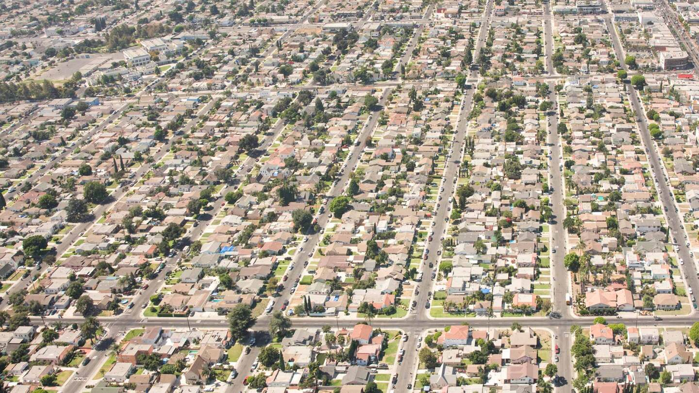 The neighborhood of Florence in Los Angeles from above. | iStock