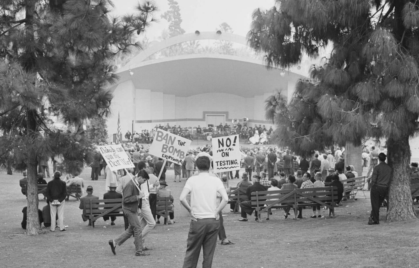 On Veterans Day 1961, the speech by former California Governor Goodwin Knight was interrupted by picketers protesting nuclear arms