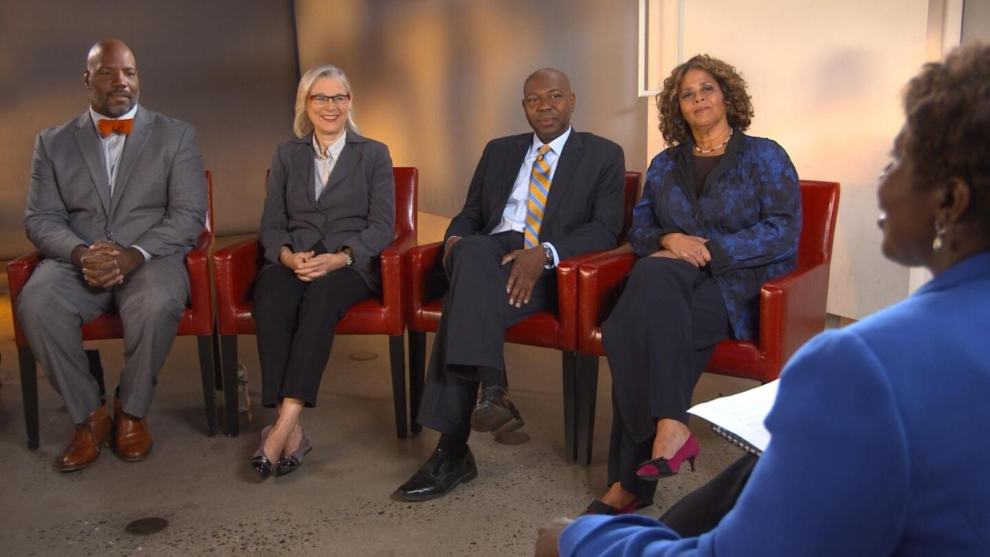 """Four speakers sit with Gwen Ifill on """"America After Ferguson."""""""