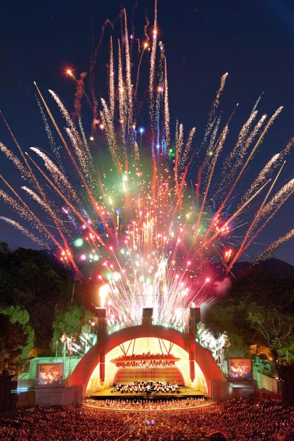 Hollywood Bowl shell with fireworks. | Adam Latham