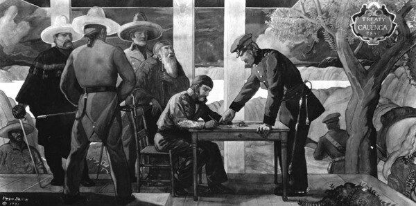 Hugo Ballin's 1931 mural depicting the singing of the Treaty of Cahuenga is mounted in the lobby of the Guarantee Trust Building at 5th and Hill Streets | WPA Collection, Los Angeles Public Library