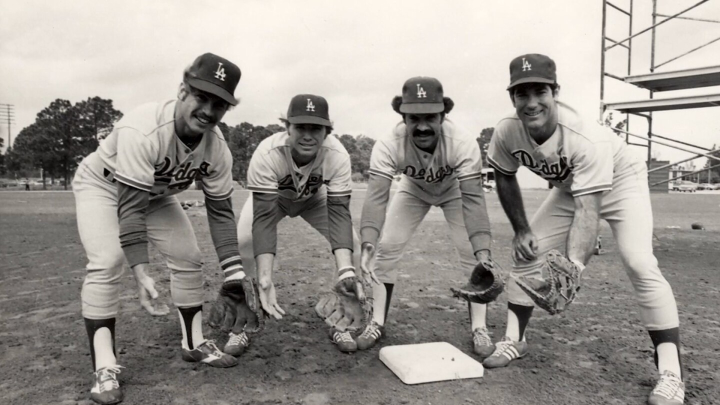 "Archival image of Dodgers players. | Still from ""Dodgers Stories: 6 Decades in L.A."""