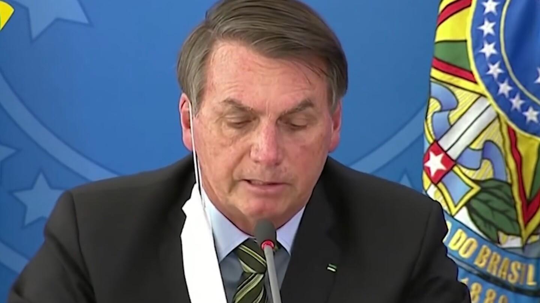 President Jair Bolsonaro of Brazil makes a statement.