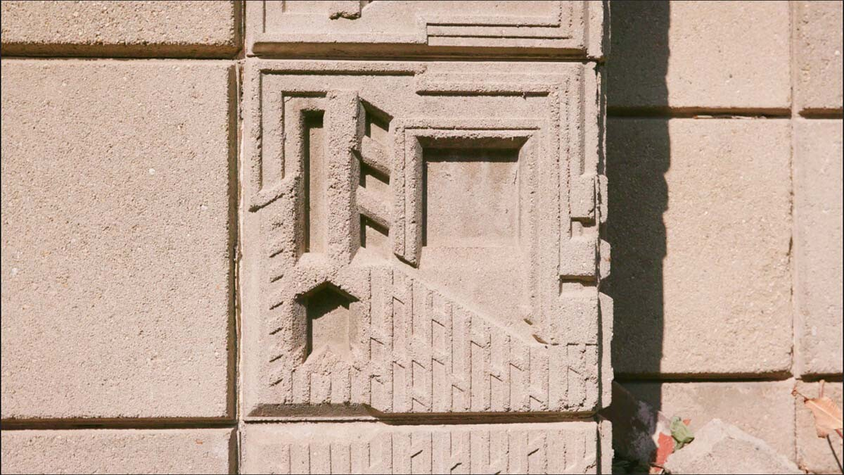 "Use of textile block in the Freeman House | Still from ""Artbound"" S9 E1: That Far Corner - Frank Lloyd Wright in Los Angeles"