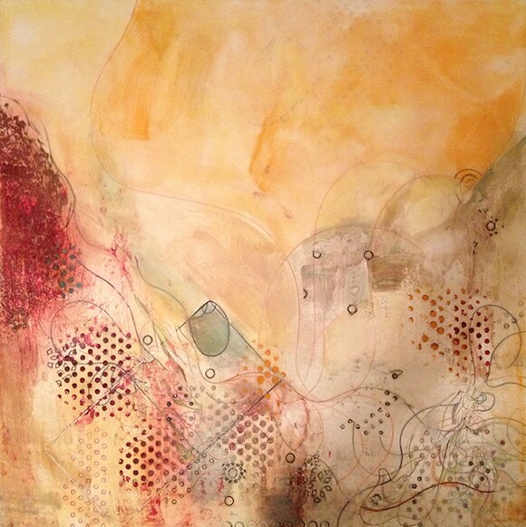"""Lucid Desert"" by Natasha Shoro, 2013, encaustic and mixed media on wood panel, 30"" x30"" 
