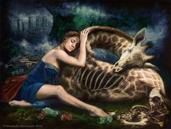 """[Click to enlarge] Alexandra Manukyan, """"Wastelands of Lament,"""" 2015, oil on Belgian linen, 40 x 30 inches."""