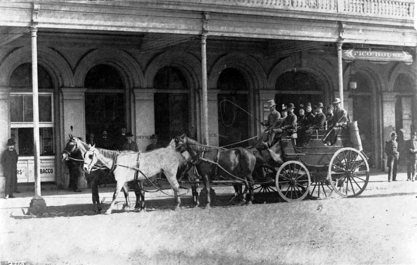 A horse-drawn stagecoach stands outside the Pico House, which in 1884 was the city's finest hotel. Courtesy of the USC Libraries - California Historical Society Collection.