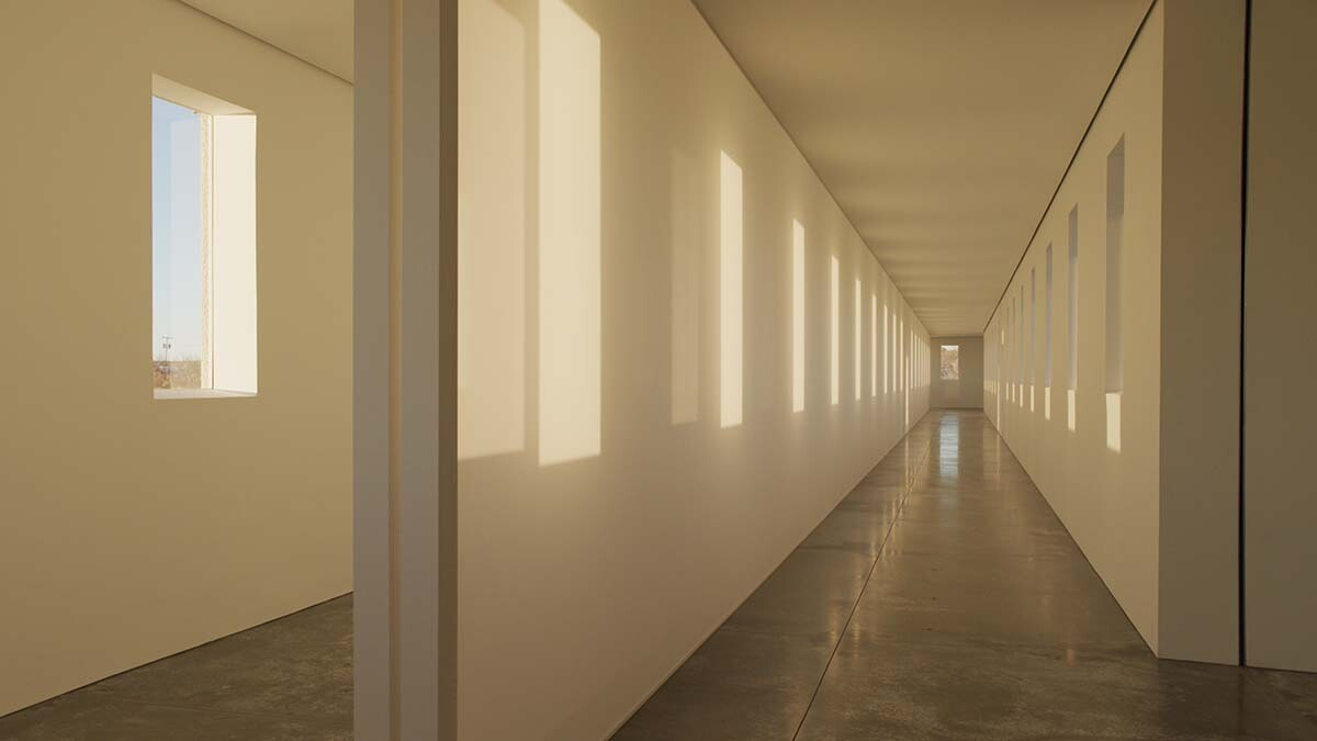 "Morning light from  Robert Irwin's 'Dawn to Dusk,' 2016 at Chinati Foundation | Still from ""Light and Space"" ab s11 episode image"