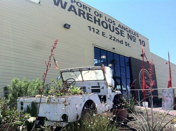 A Jeep planter outside Warehouse No. 10, site of the ''Crafted'' craft fair