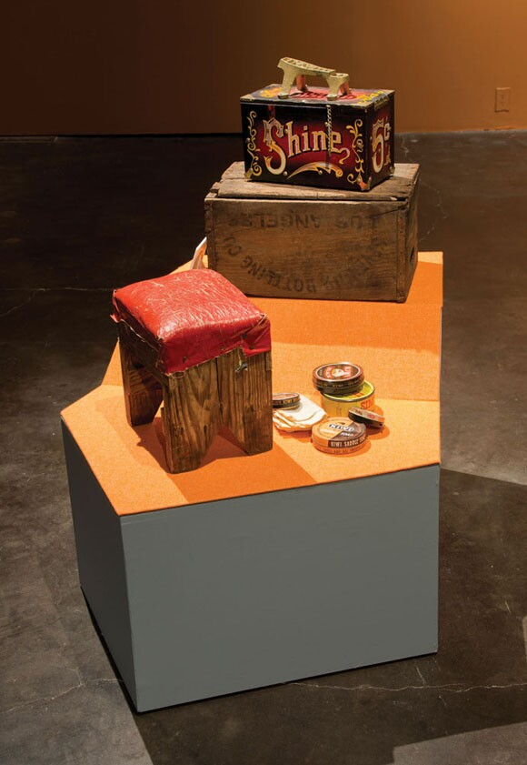 Mario Ybarra Jr., <em>Shoe Shine Kit</em>, 2012, Mixed media, Dimensions variable, Courtesy the Artist and Honor Fraser Gallery, Los Angeles, CA. Photo: Wayne McCall