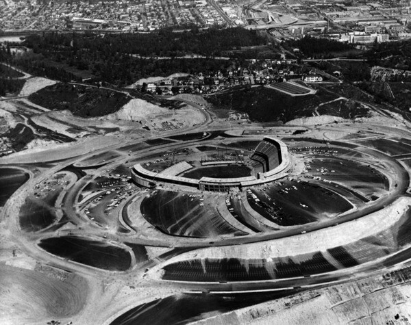 1962 view of a nearly completed Dodger Stadium. Courtesy of the Photo Collection - Los Angeles Public Library.