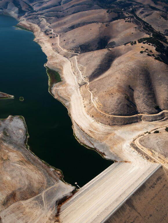 An aerial view of Lake San Antonio Dam on the border between Monterey and San Luis Obispo counties. | Photo: Brittany App.