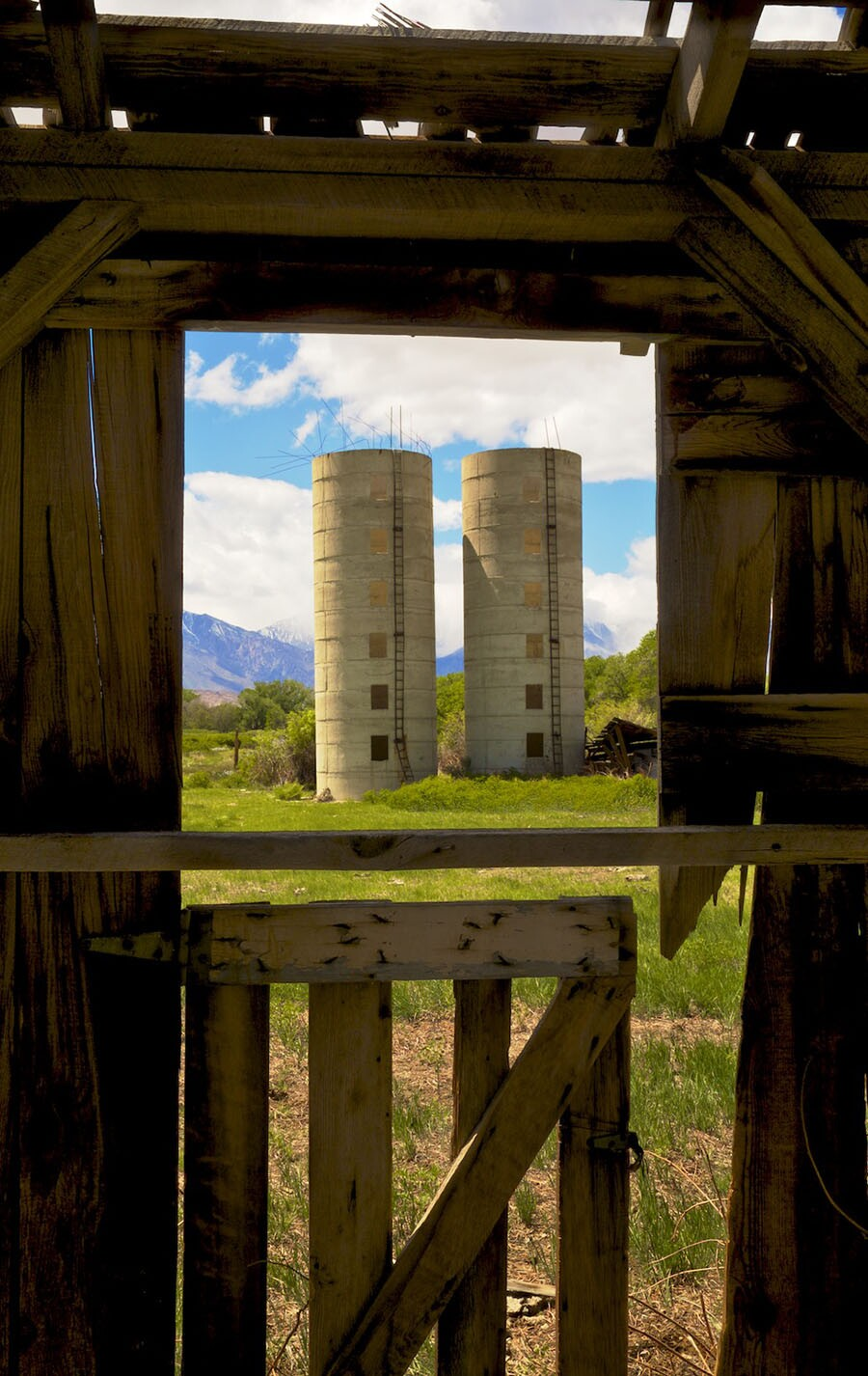 Window View of Twin Silos from Abandoned Barn- Bishop, CA -2016   Osceola Refetoff
