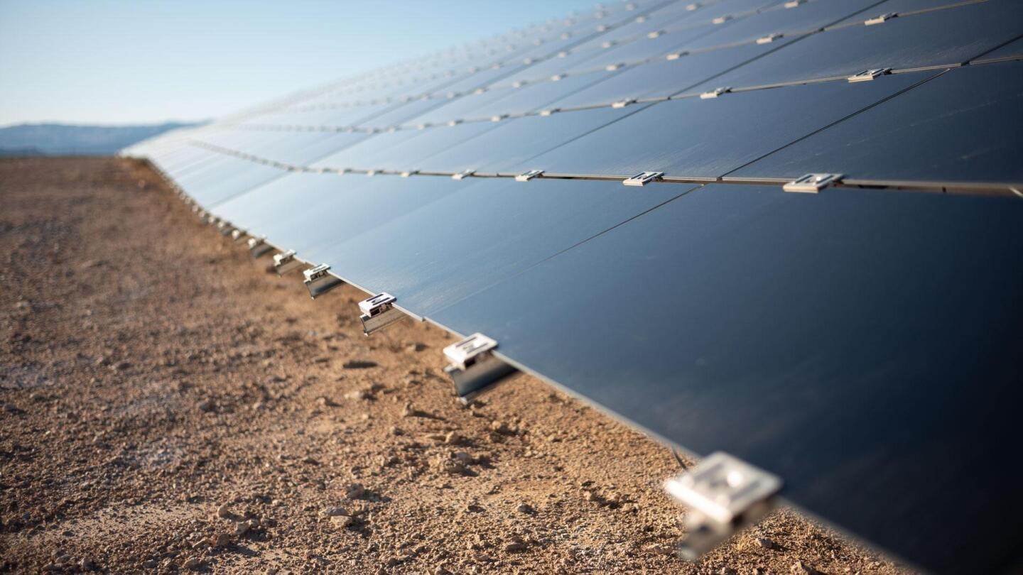 Solar panels at Moapa Southern Paiute Solar Project.