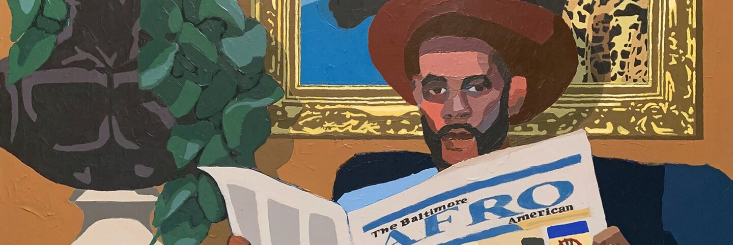 "Andrew Gray's ""Portrait of a Collector,"" 2020. Acrylic on canvas. 