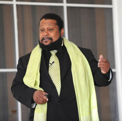 Biologist Tyrone Hayes speaks to a group at King University in Tennessee.| Photo: Earl Neikirk, some rights reserved